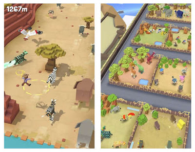 در سمت چپ باغ وحش و مجموعهی حیوانات را میبینید، و در سمت راست سوارکار که از روی حیوانی پریده و در هوا برای ادامه سواری تلاش میکند