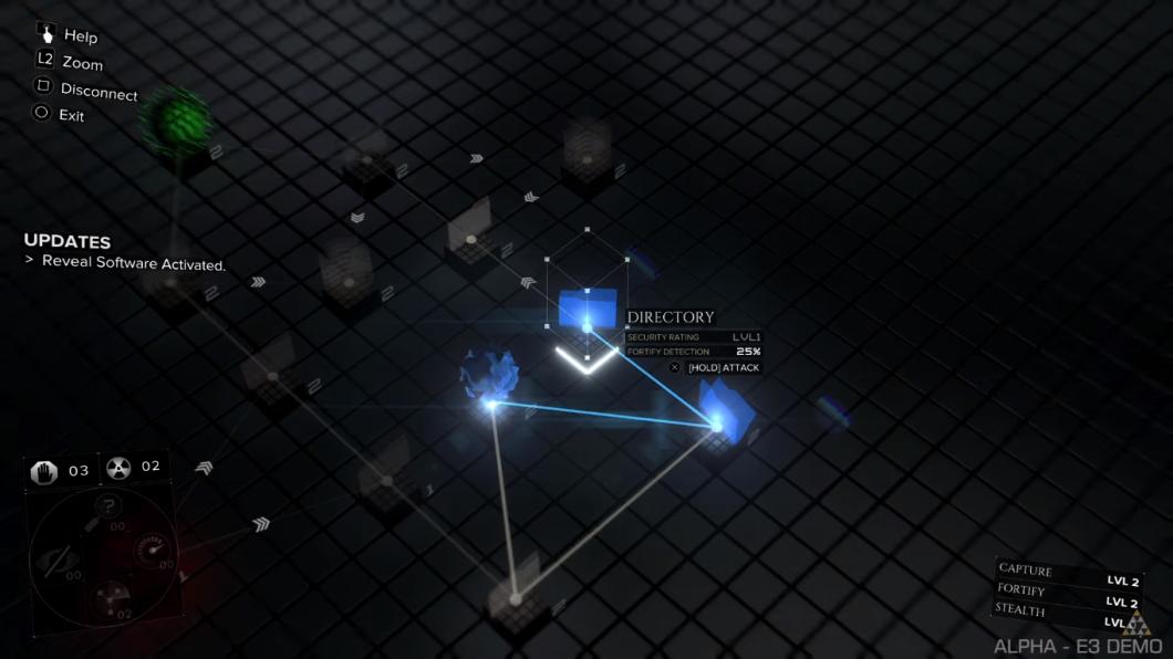 سیستم و مکانیکهای هک در بازی تقریبا شبیه به نسخهی پیشین هستند. شما باید مرحله به مرحله در راه به سمت هستهی سبز رنگ پیش بروید و هستهی قرمز رنگ و امنیتی سیستم را مورد توجه خود قرار ندهید؛ اگر سیستم امنیتی متوجه شما شود، باید در مدت زمان محدودی سریعا بع هستهی سبز برسید و پروسهی هک را کامل کنید.