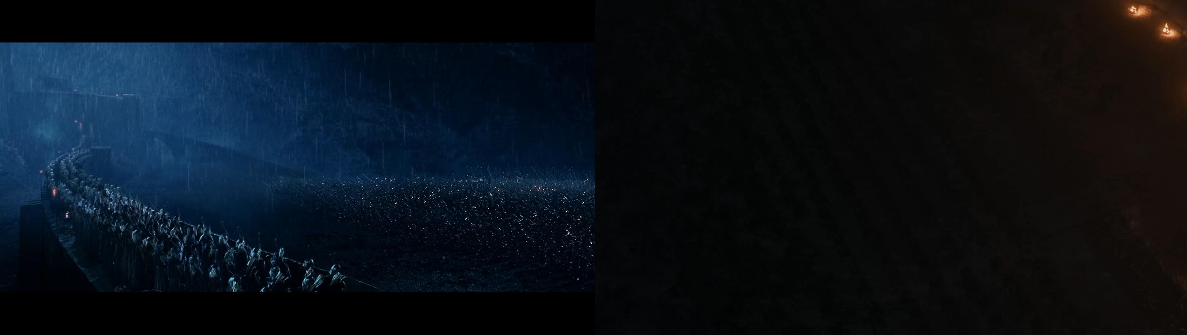 مقایسه تصویر سپاهیان دشمن در نبرد هلمز دیپ (چپ) با نبرد وینترفل (راست)