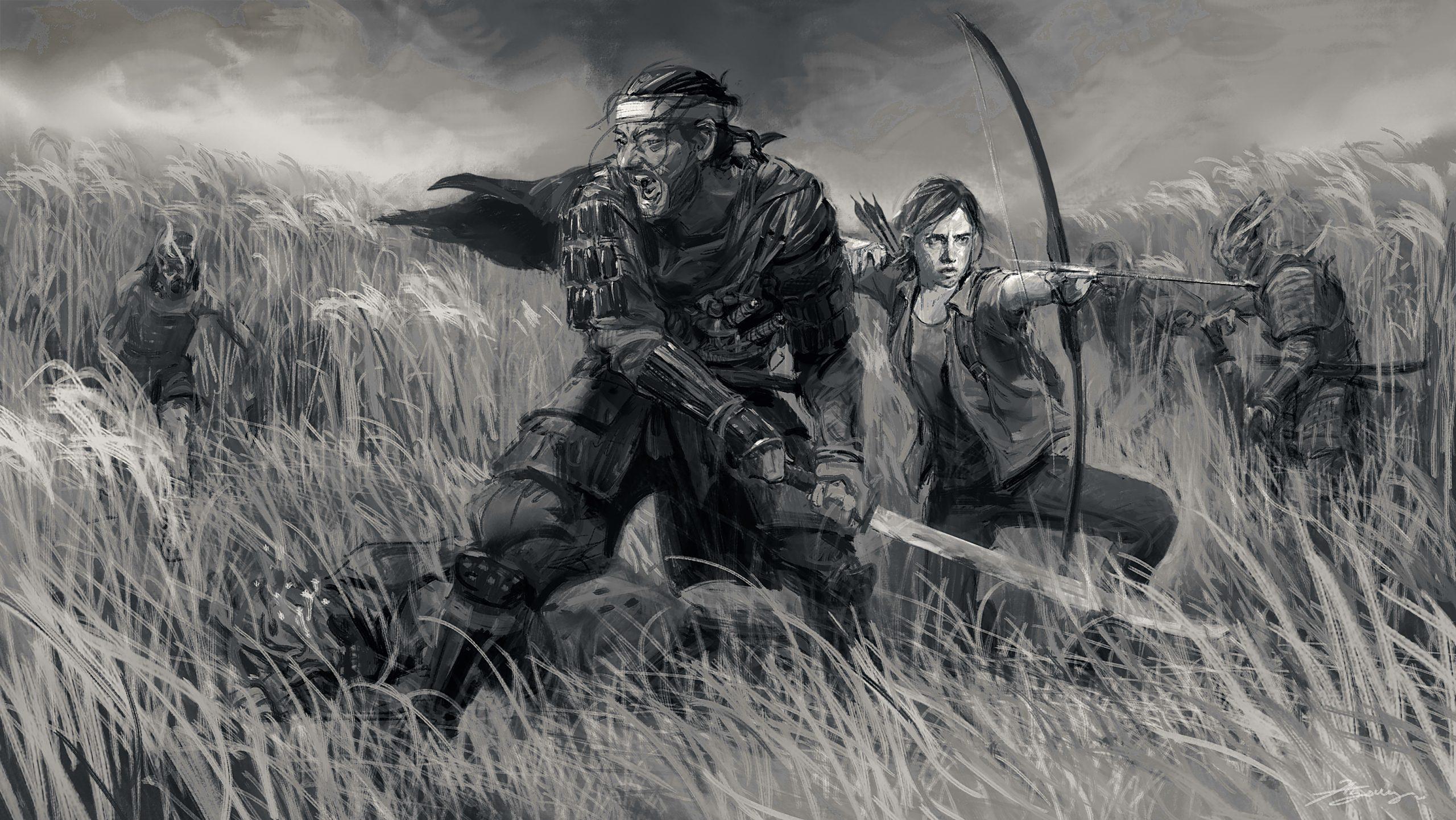 تصویر هنری Ghost of Tsushima و The Last of Us Part II