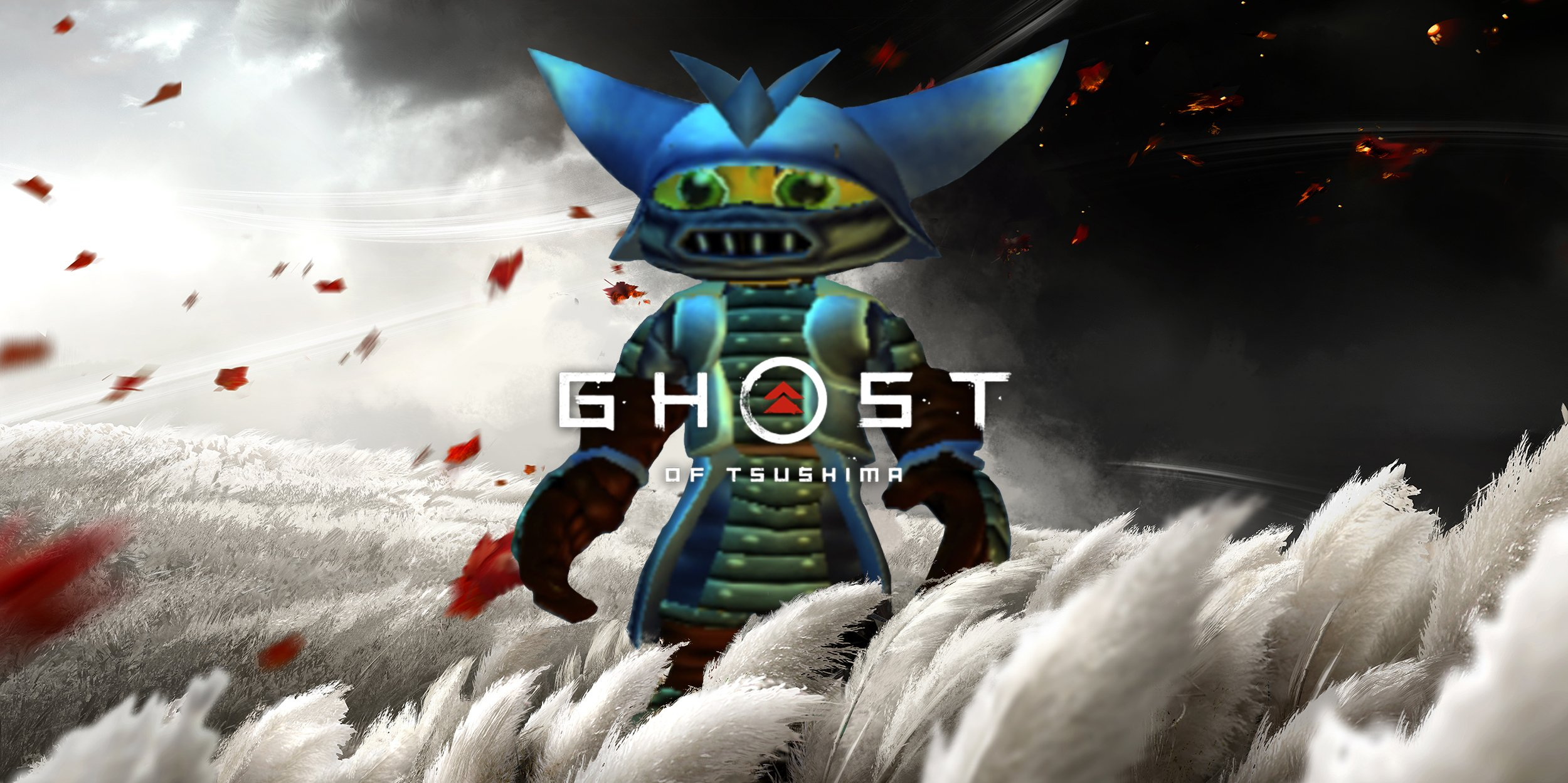 تصویر هنری Ratchet and Clank و بازی Ghost of Tsushima