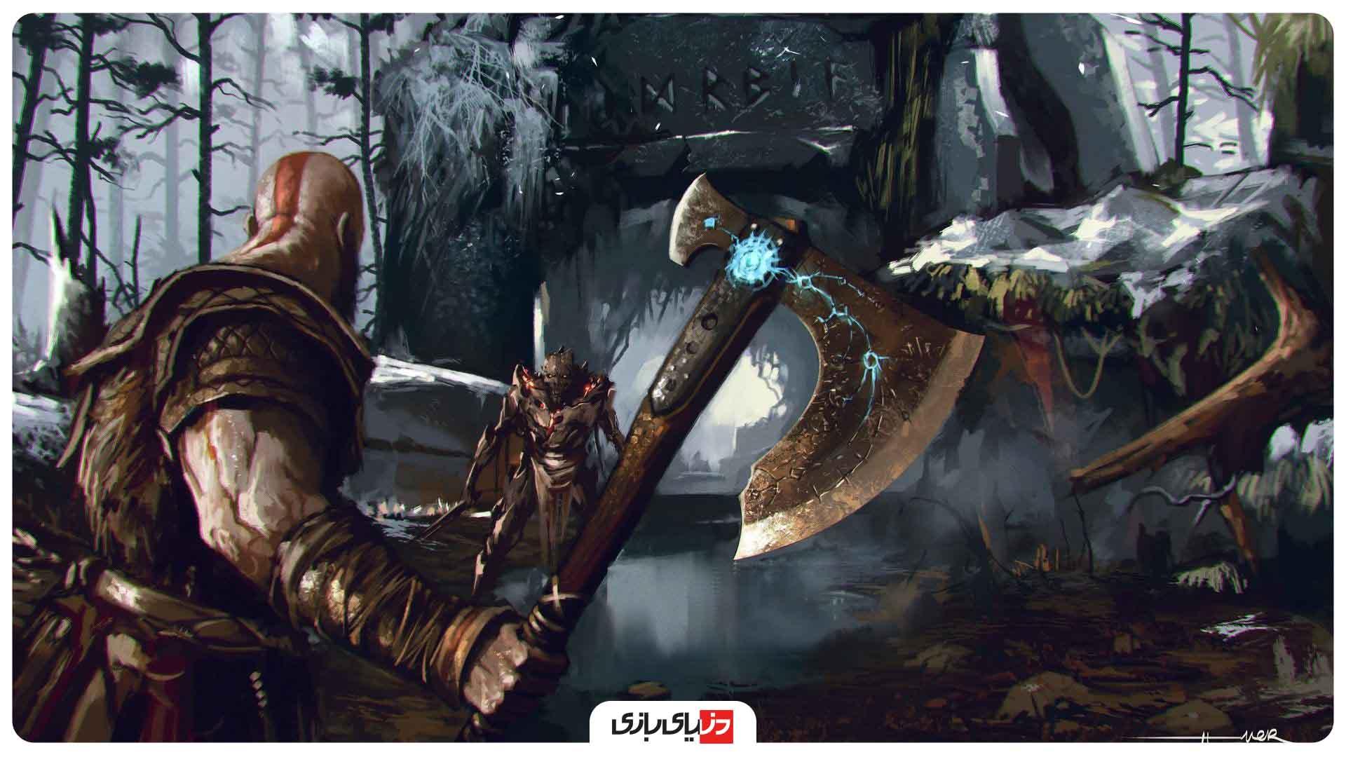 نکات بازی God of war - نوشته اسکاندیناوی هک شده بر روی دیوار